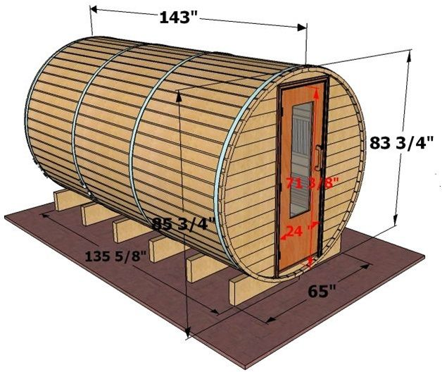 commercial sauna dimensions