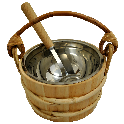 Cedar Sauna Bucket with Stainless Steel Ladle & Liner