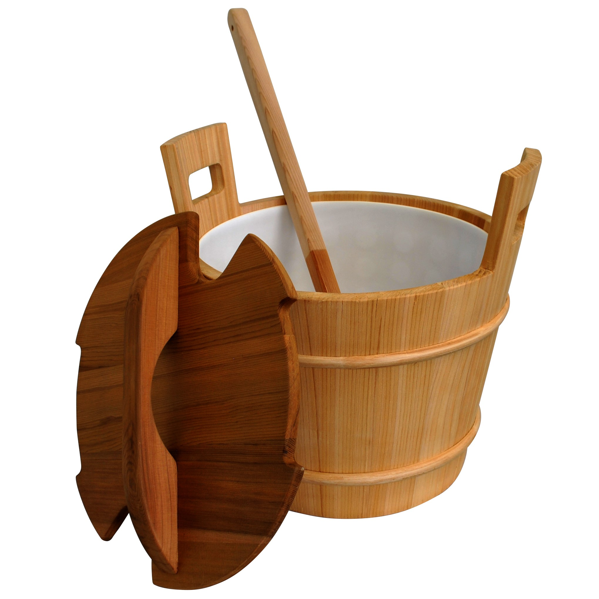 Cedar Sauna Bucket with Liner, Lid, and Ladle - 18L