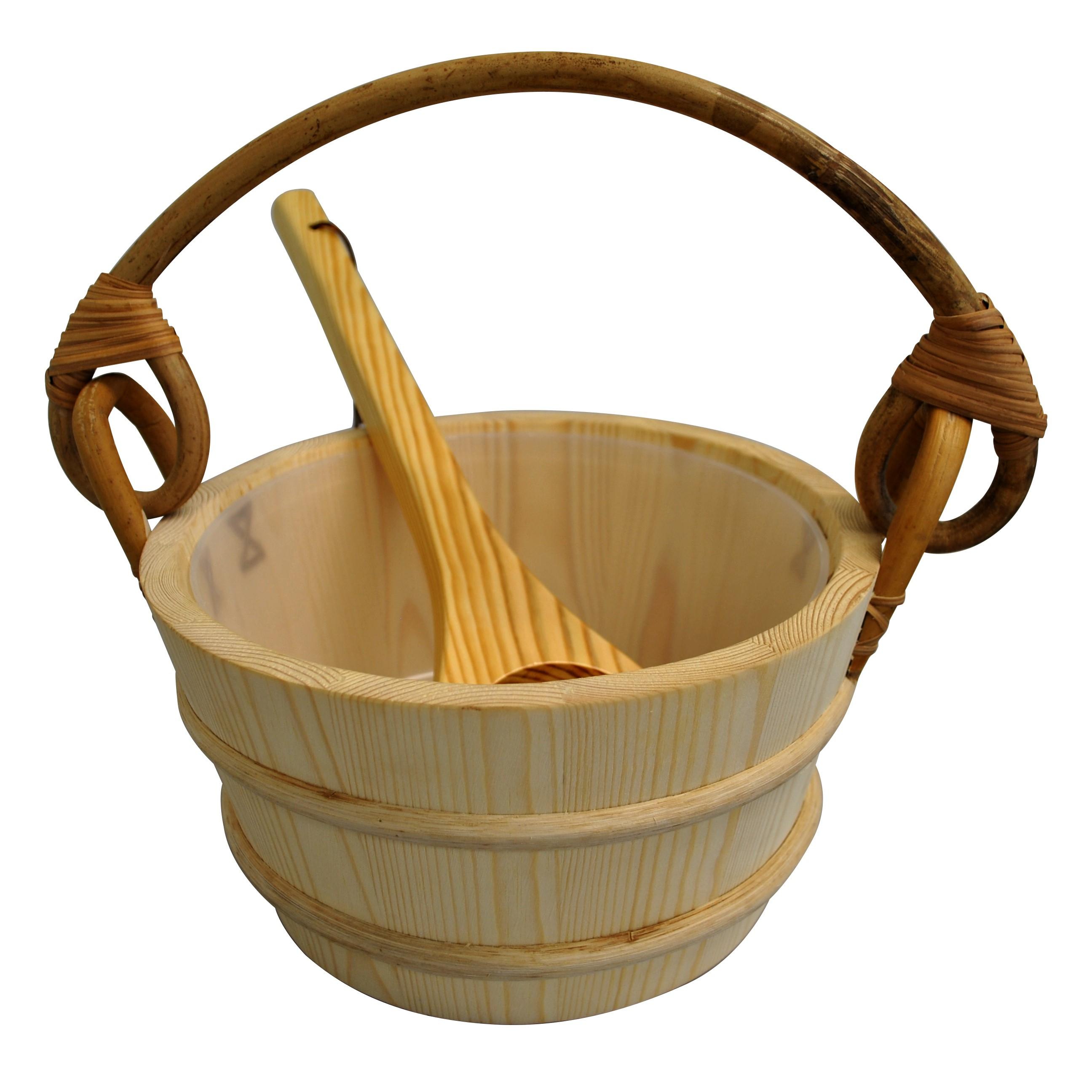 Pine Sauna Bucket with Scoop Ladle & Liner