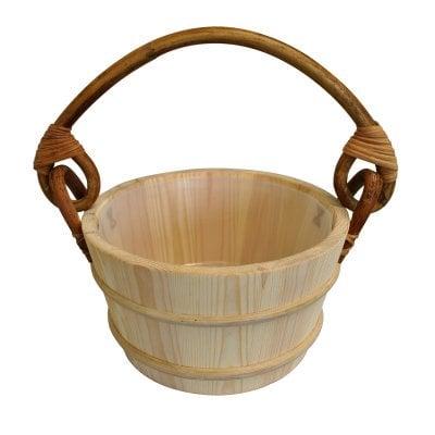 Pine Sauna Bucket - Rattan Handle - 4L