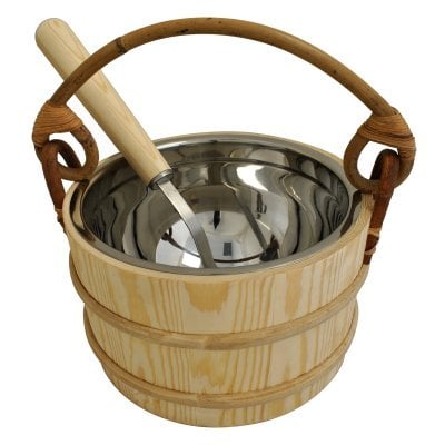 Pine Sauna Bucket with Stainless Steel Ladle & Liner