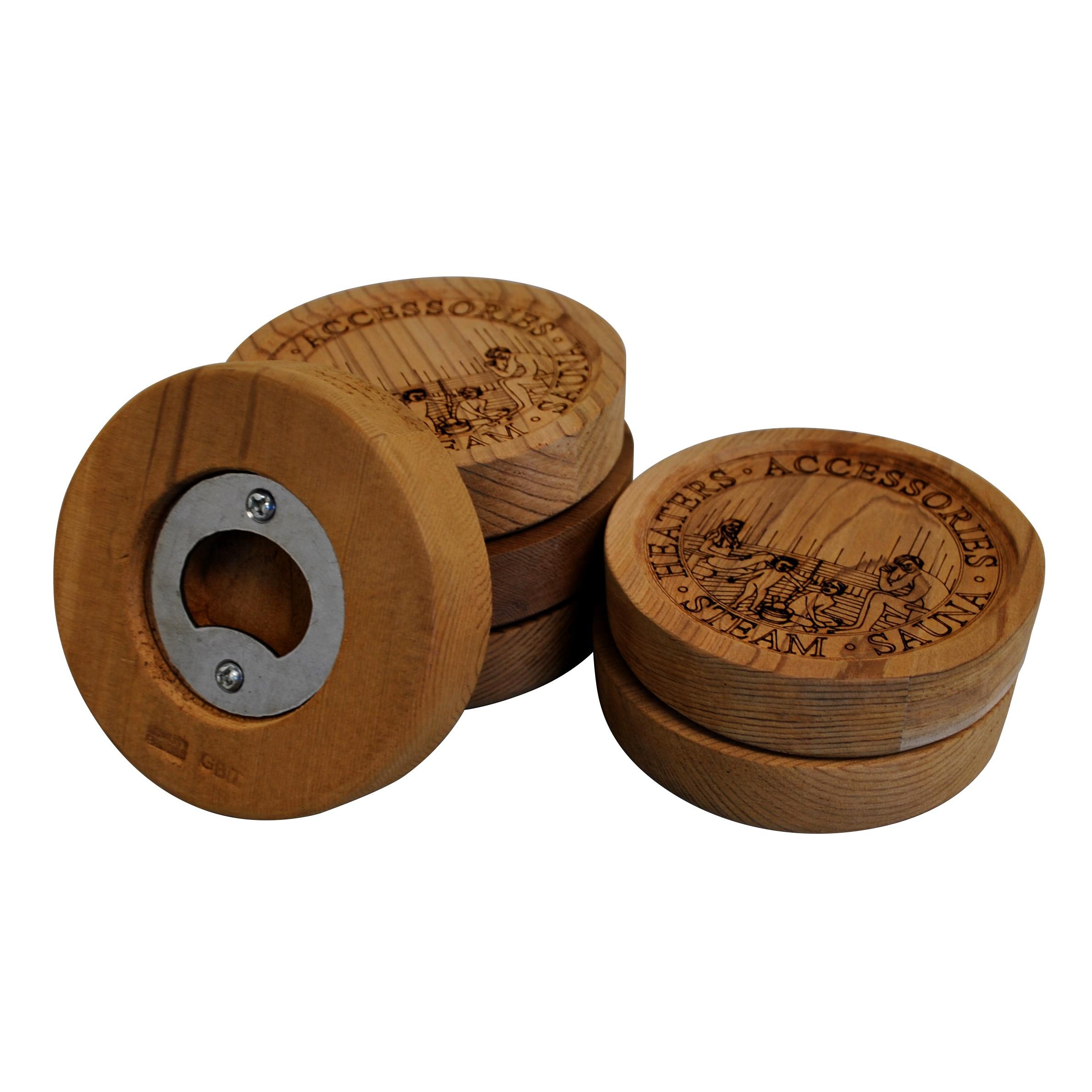 Sauna Coaster/Bottle Opener - Cedar - 6 Pack