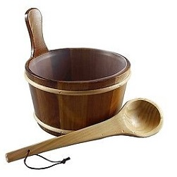 Cedar Sauna Bucket with Scoop Ladle & Liner