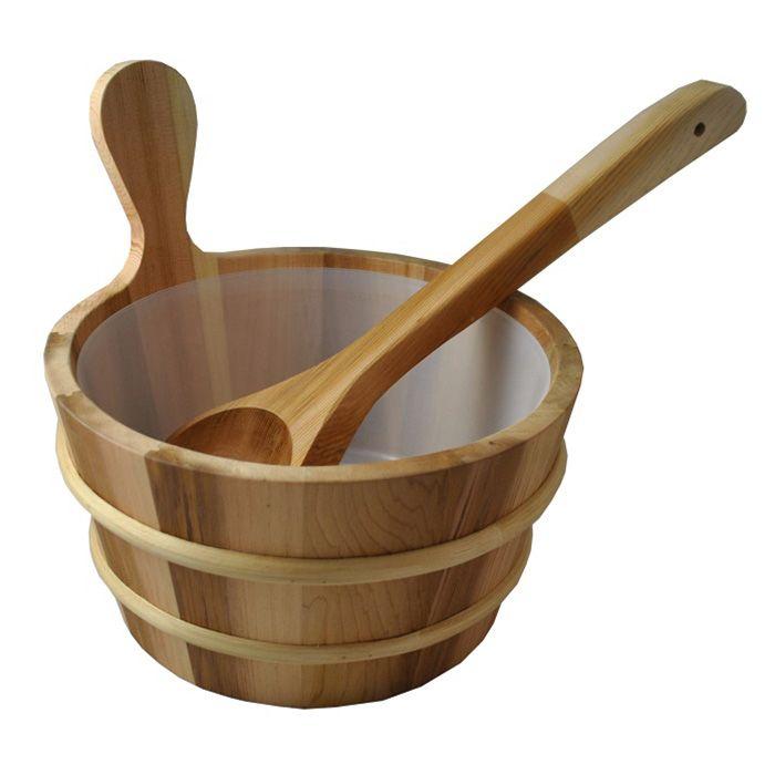 Cedar Sauna Bucket with Scoop Ladle & Liner