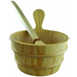 Pine Sauna Bucket with Scoop Ladle & Liner