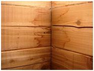 Water stains on un-sealed sauna wood