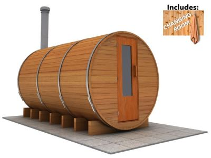 12 x 7 Sauna with Change Room (Wood Fired  Heater)