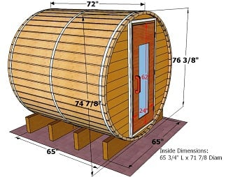 6 foot x 6 foot Barrel sauna