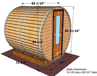 7 foot x 7 foot Barrel sauna