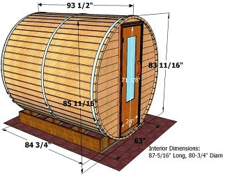 8 foot x 7 foot Barrel sauna (Wood Fired  Heater)
