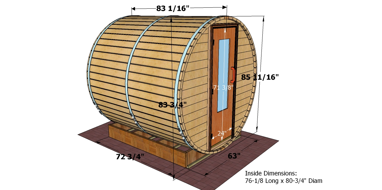 7 foot x 7 foot Barrel sauna (Wood)