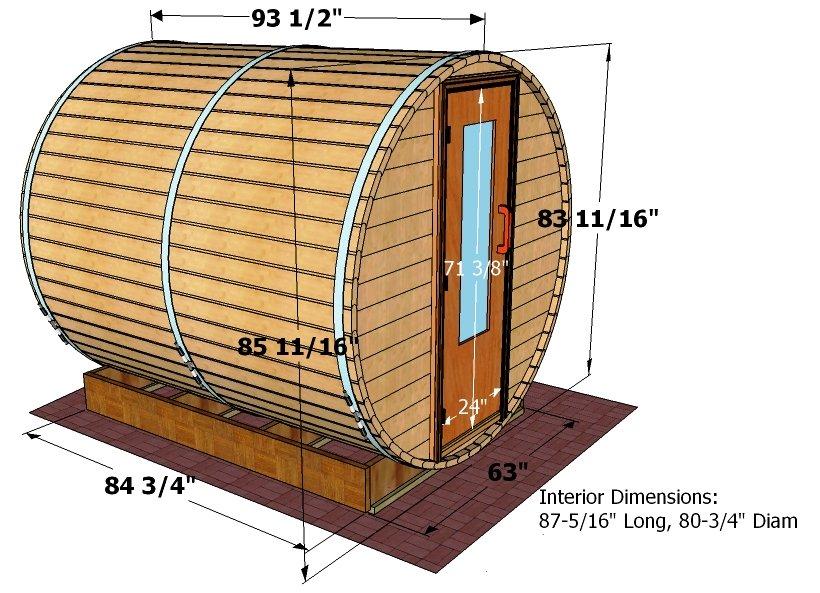8 foot x 7 foot Barrel sauna (Wood)