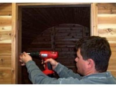 Install the sauna door
