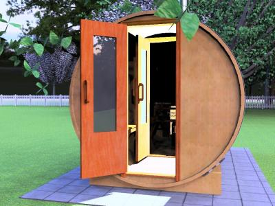 Sauna 12ft With Wood Heater Front View Rendered