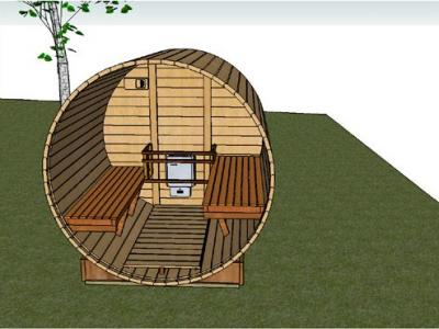 Interior Barrel Sauna View