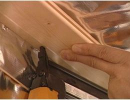 Install tongue and grove cedar boards for walls and ceilings
