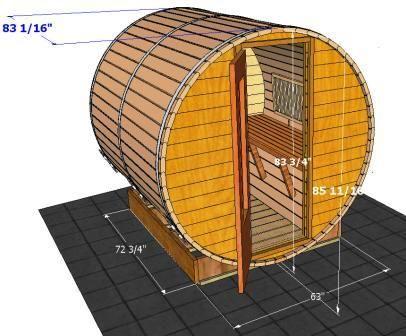 Sauna specifications outdoor sauna designs sauna specs for Barrel cabin plans